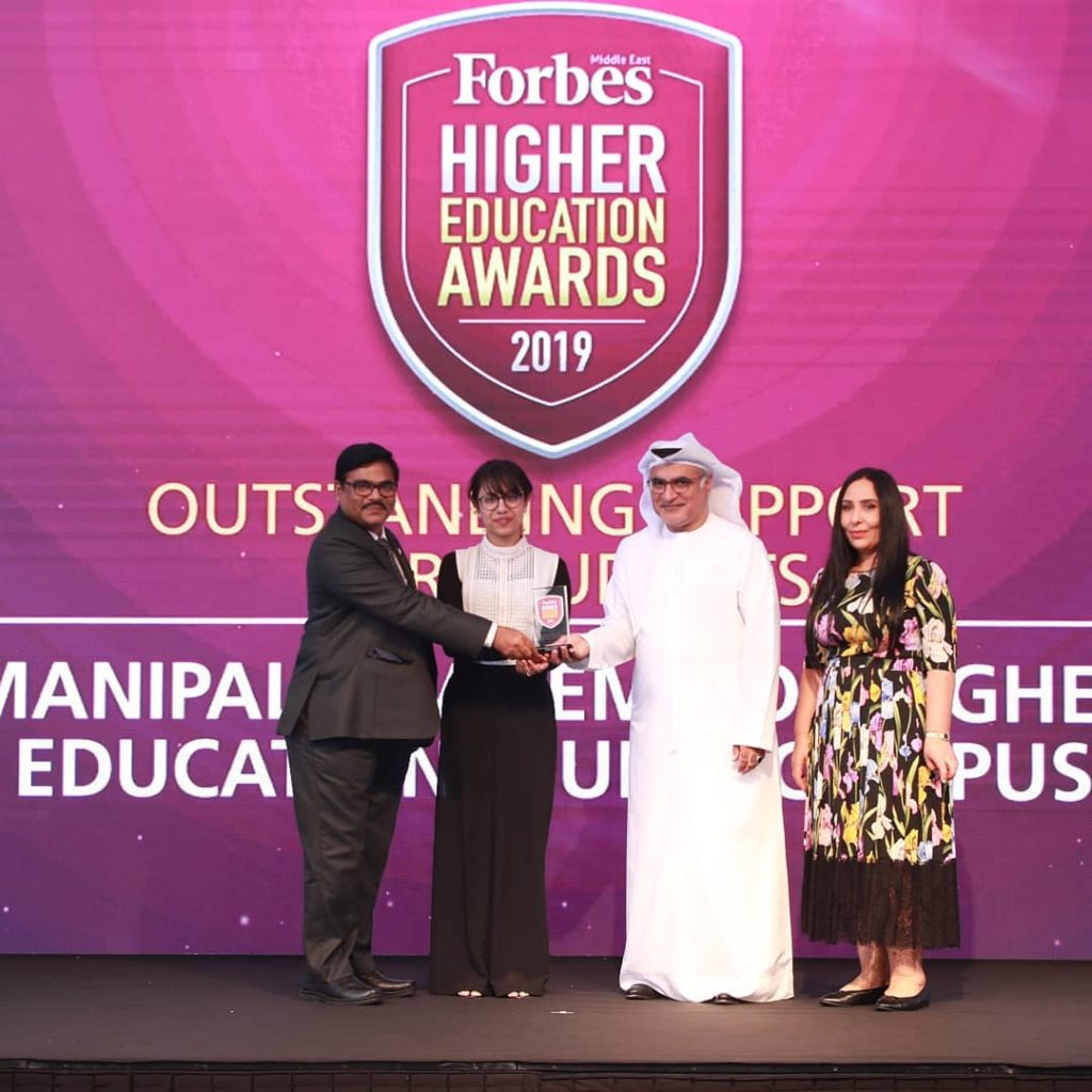 The award was received on April 24th 2019, by Dr. S.V. Kota Reddy, Academic President, MAHE Dubai and Ms. Mrinalini Jayakumar, Student Council President, MAHE Dubai at Taj Dubai in a formal event hosted by Forbes Middle East. The award is in appreciation of the student-centric academic delivery of MAHE Dubai and recognizes the academic and non-academic support the university extends towards the development of its students.